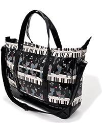 マチ付きレッスンバッグ ラミネート おけいこバッグ ピアノの上で踊る黒猫ワルツ(ブラック) N3000700