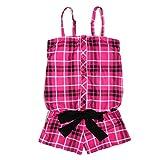 (パニカム) PONEY COMB 女の子用チェック柄サロペットワンピース水着 sw1596 SS(140cm) ピンク