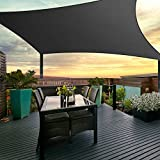 Instahut Sun Shade Sail Cloth Shadecloth Outdoor Canopy Awning Black 280gsm 4x6m