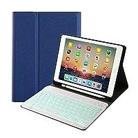 7色 バックライト ペンホルダー付き iPad 9.7 インチ iPad6 iPad5 iPad Air 2 Pro 9.7 キーボード ケース コンパクト スマート ワイやレス アイパッド 6 5 エア 2 プロ 9.7 bluetooth キーボード付き カバー アップルペンシル収納 (iPad6/iPad5/iPaPro9.7/iPadAir/Air2, ブルー+白キーボード)