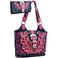 Western Rhinestone Buckle Embroidered Purse Handbag With Bonus Wallet
