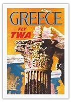 ギリシャ - TWA (トランス・ワールド航空)で飛ぶ - コリント式スタイルギリシャコラム - ビンテージな航空会社のポスター によって作成された デイヴィッド・クライン c.1959 - 美しいポスターアート
