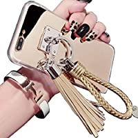 Huawei P9 Plus Mirror ケース, Beautiful Hand Sling Anti-Slip Strap Tassel Luxury Shiny Make-Up Mirror Thin カバー, TAITOU Awesome Ultralight Slim Phone ケース For Huawei P9Plus Gold