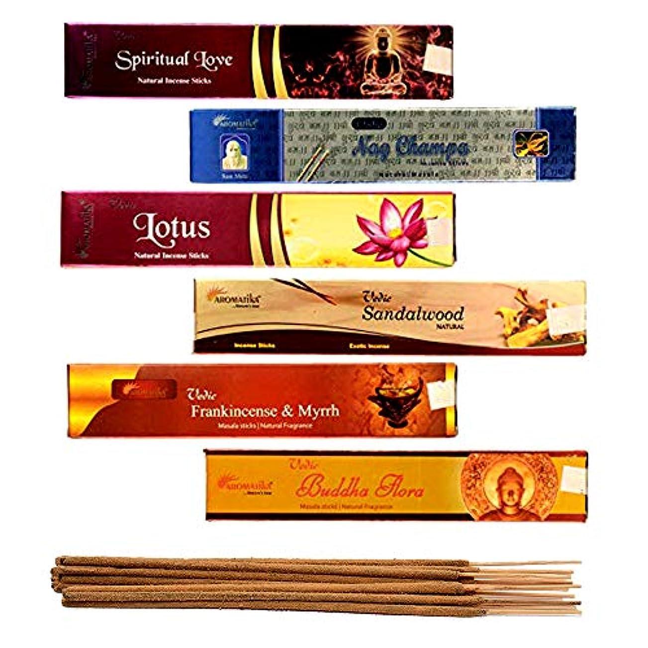 猛烈な外部多様体aromatika 6 Assorted Masala Incense Sticks Vedic Nag Champa、サンダルウッド、ブッダFlora、ロータス、Frankincense & Myrrh、Spiritual Love WithメタルIncense Stick Holder