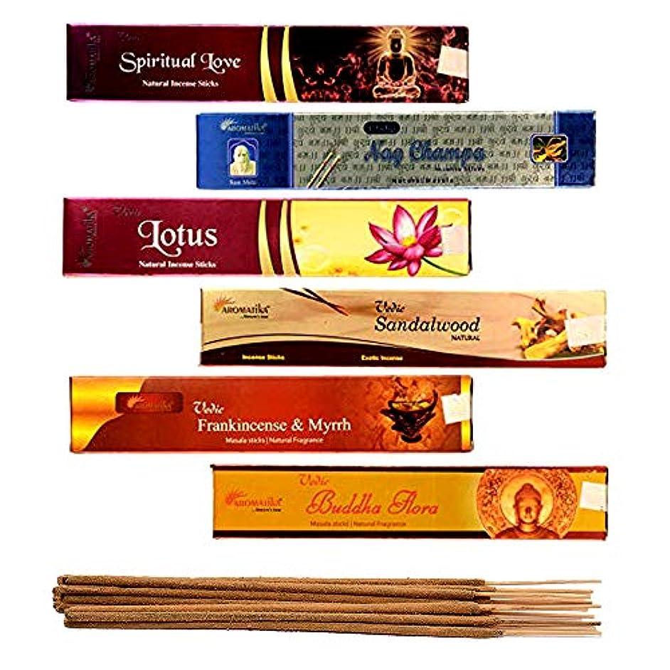 ウール時々時々パンチaromatika 6 Assorted Masala Incense Sticks Vedic Nag Champa、サンダルウッド、ブッダFlora、ロータス、Frankincense & Myrrh、Spiritual...