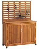 天然木製 バックパネル付き収納庫(吊棚付) Lタイプ 幅101cm×高さ141cm ブラウン YB-202NW100