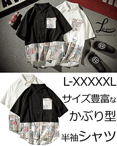 (ラクエスト) Laquest Tシャツ 半袖 ビッグ シルエット 大きめ 大きいサイズ フェイクレイヤード ゆったり メンズ (L, ブラック)