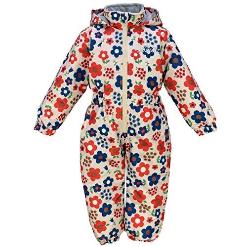 アスナロ(スキーウェア) スノーコンビ 子供服 女の子 撥水加工 中綿 つなぎ 耐水圧2000mm 花柄110 ベージュ