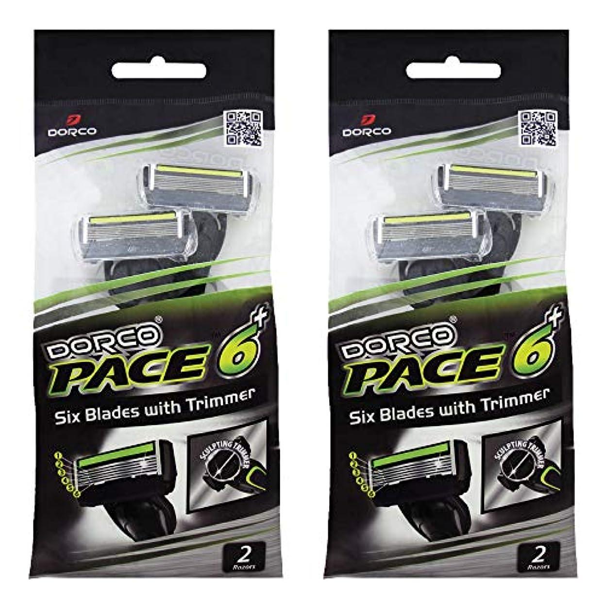 宿泊施設集計僕のドルコ Pace6 Plus 枚刃カミソリ トリマー付き:Dorco メンズT字シェーバー4本入り、使い捨て、肌に優しい深剃り [並行輸入品]
