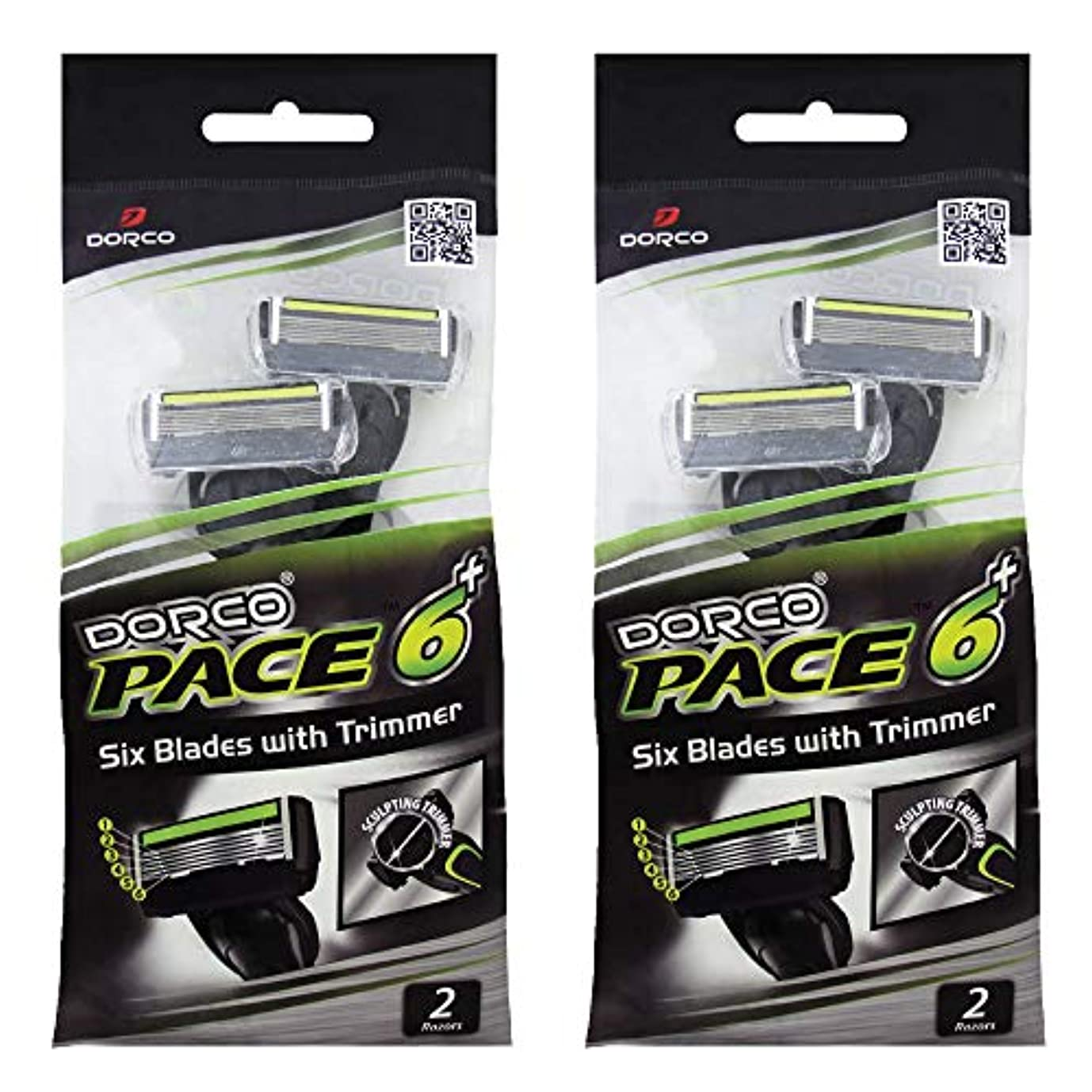 多様な遺棄されたラッカスドルコ Pace6 Plus 枚刃カミソリ トリマー付き:Dorco メンズT字シェーバー4本入り、使い捨て、肌に優しい深剃り [並行輸入品]