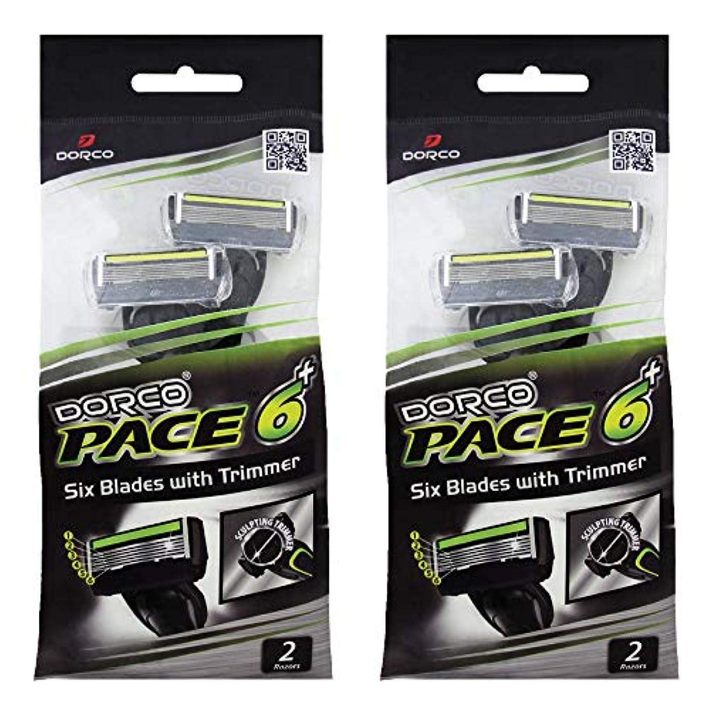 サンダース葡萄と遊ぶドルコ Pace6 Plus 枚刃カミソリ トリマー付き:Dorco メンズT字シェーバー4本入り、使い捨て、肌に優しい深剃り [並行輸入品]
