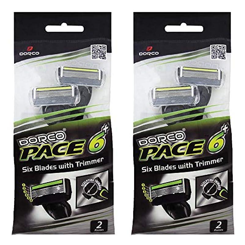 拒否悲惨ラケットドルコ Pace6 Plus 枚刃カミソリ トリマー付き:Dorco メンズT字シェーバー4本入り、使い捨て、肌に優しい深剃り [並行輸入品]