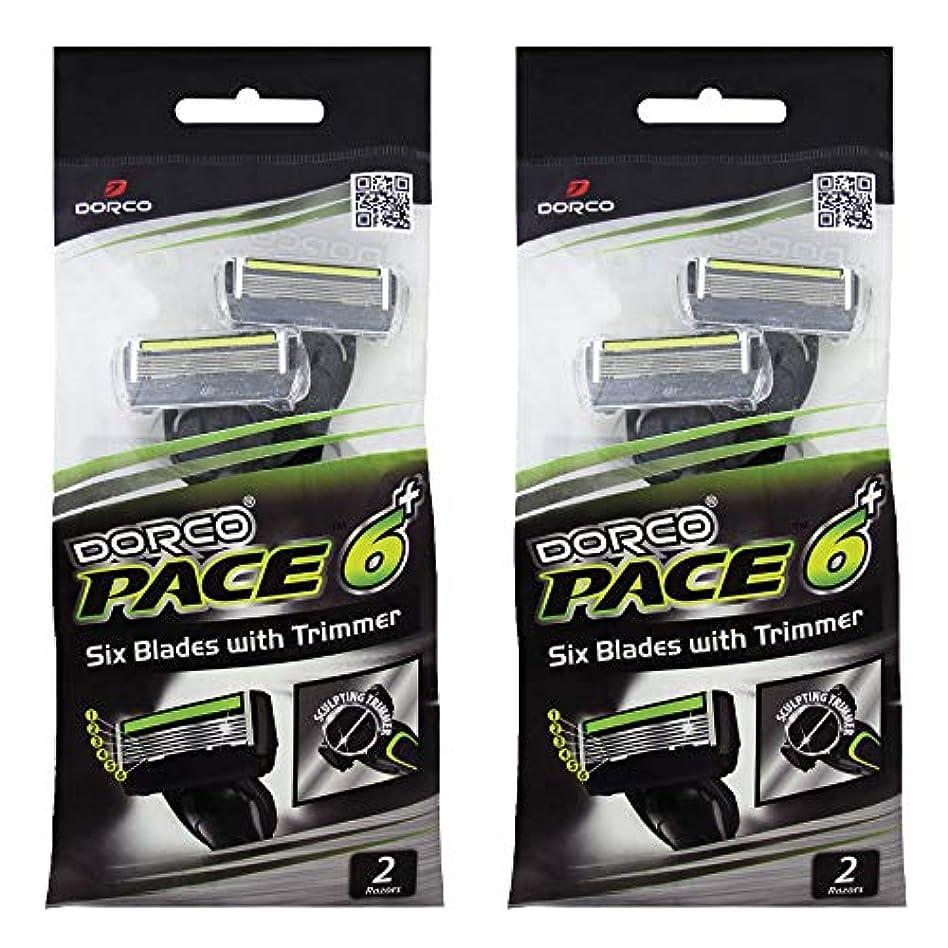 ドルコ Pace6 Plus 枚刃カミソリ トリマー付き:Dorco メンズT字シェーバー4本入り、使い捨て、肌に優しい深剃り [並行輸入品]