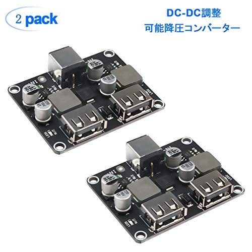2個DC-DC調整可能降圧コンバータ6V-32V(12 24V)から3V-12Vへの電力降圧モジュールデュアルUSBレギュレータ急速充電ステップダウンiPhone / QC2.0 / QC3.0 / DCP/FCP/AFC/SFCP/用 SCP