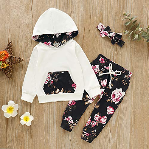 Nokpsedcb Newborn Kids Clothing Baby Girls Cute Solid Color Hooded T-Shirt Top+Flower Long Pants Trousers Outfits Clothes Set (White, 0-3 Months)