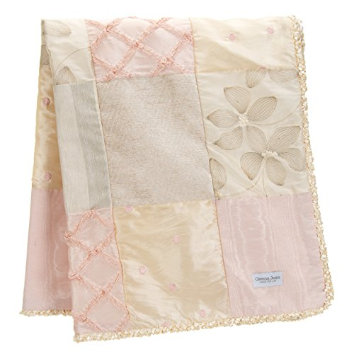 Crib Bedding Set Florence by Glenna Jean | Baby Girl Nursery + Hand Crafted with Premium Quality Fabrics | Includes Quilt, Sheet and Bed Skirt with Pink and Ivory Accents