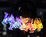 EloBeth 多彩カラーストリングライト ソーラーLEDライト クリスマス、コンサート、結婚式など飾りイルミネーションライト ファーボール型、雪花型、ベル型、鹿型 20球4.8m/30球6.5m (6.5m(30球 鹿型), マルチカラー)