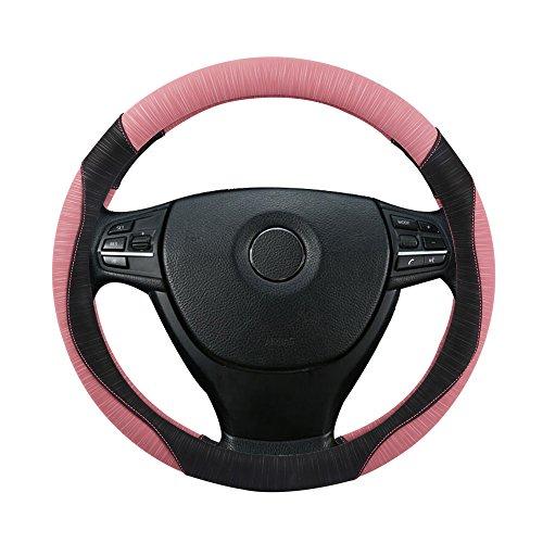 ステアリングカバー SuperPDR ハンドルカバー 軽普通車 滑り防止 無臭カバー 四季汎用 最新スタイル 自動車用品 ピンク