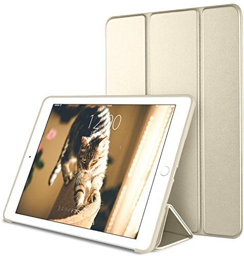 DTTO iPad Mini 1/2/3 ケース 生涯保証カード付け 超薄型 超軽量 TPU ソフト PUレザー スマートカバー 三つ折り スタンド スマートキーボード対応 キズ防止 指紋防止 [オート スリープ/スリー プ解除] シャンパンゴールド