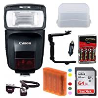 Canonスピードライト470ex-ai Flash with Advanced Accessory Bundle including : 64GBメモリカード、スペア電池と充電器、フラッシュブラケット、オフカメラシューコードand More ( over $ 40値。 )