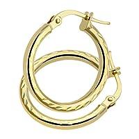 [女性向けイヤリング]Citerna AR055Y 9 ct Yellow Gold Side Diamond Cut Round Hoop Earrings[平行輸入品]