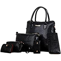 W & L Collection Vouge Texture Tote Handbag Messenger Shoulder Cross Body Daypack Set
