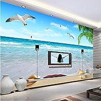 Lixiaoer カスタマイズされたココナッツカモメ海景写真壁画壁紙リビングルームテレビソファホーム装飾防水壁紙-120X100Cm