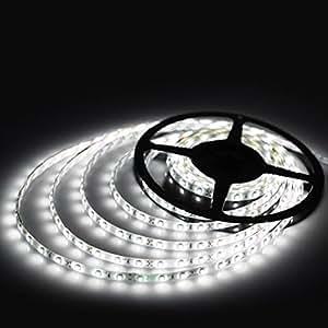 高輝度LEDテープライトSMD 5050 RGB 5M 300連 強力粘着両面テープ 正面発光防水仕様IP65 切断可能 (ホワイト)