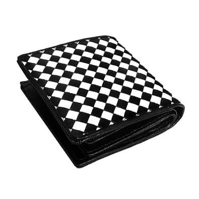 本牛革 イントレチャート 二つ折り 短財布 ホワイト×ブラック 編み込みレザーウォレット 黒×白