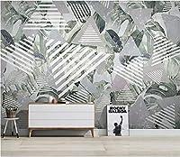 Minyose カスタムの3D壁紙北欧の熱帯植物抽象ライン現代のミニマリストのテレビの背景の壁の壁紙壁画-400Cmx280Cm