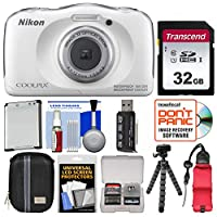 Nikon Coolpix w100Wi - Fi 32GBカード+ケース+バッテリー+ Flexで衝撃&防水デジタルカメラ(ホワイト)三脚+フロートストラップ+キット
