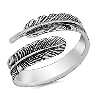 Open Oxidized Wrapped Leaf Ring New .925 Sterling Silver Feather Band Size 6 [並行輸入品]