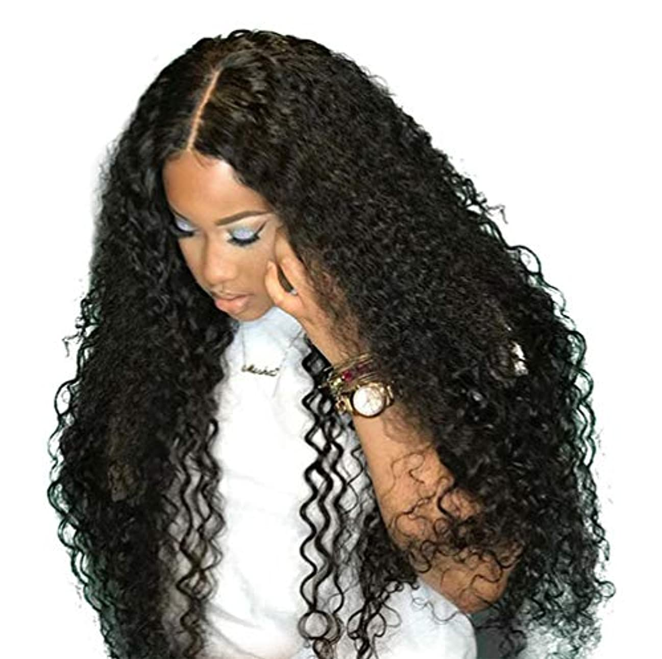 ハッピー評議会豪華なブラジルレースかつらカーリーウェーブグルーレスレースかつら前頭かつら女性130%密度ブラジルカーリー人間の髪の毛黒26インチ