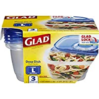 Glad Food Storage Containers, Deep Dish, 64 Ounce, 3 Count by Glad Food Storage