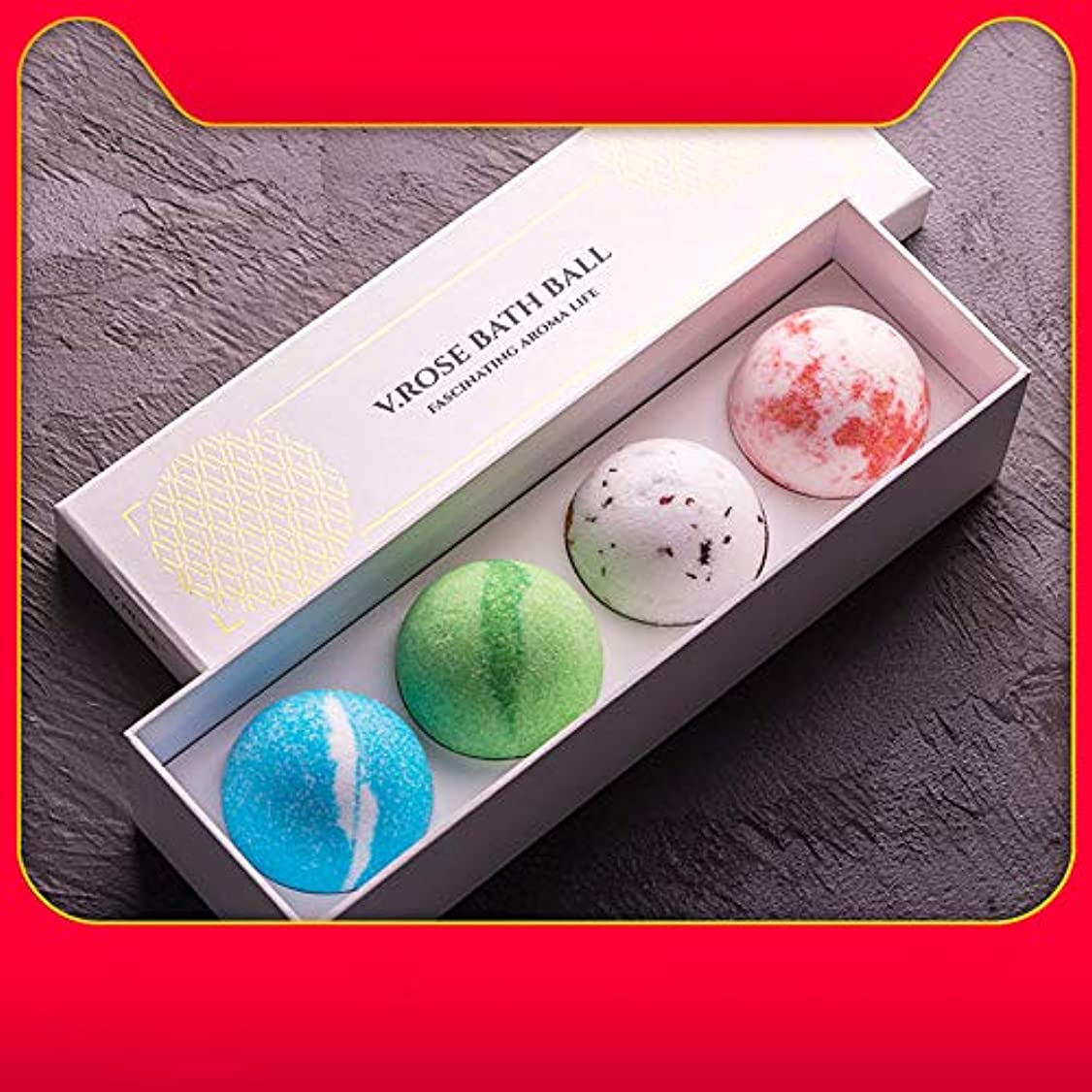 櫛受信トマトバスボム 炭酸 入浴剤 ギフト 手作り お風呂用 4つの香りキット 天然素材 カラフル バスボール 母の日 結婚記念日 プレゼント