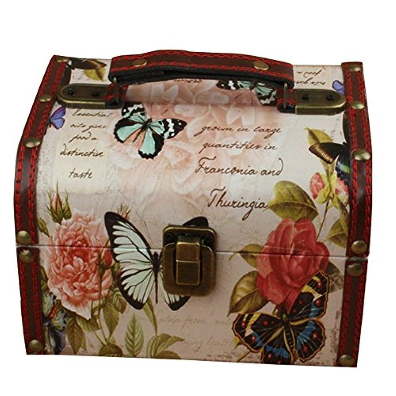 トリッキーシェルター充実Umora メイクボックス 収納 アンチーク コスメボックス 化粧品 小物 おもちゃ 雑貨 (蝶々)