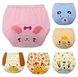 Limi ベビー 赤ちゃん かわいい動物 顔 トレーニングパンツ 3層 綿100% 6枚組 ショーツ ブリーフ 女の子 男の子 トイレ 練習 (100)