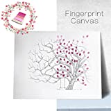 指紋ツリー絵画、FranterdクリエイティブDIYゲスト署名ブックforウェディング誕生日パーティー