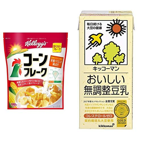 【セット買い】ケロッグ コーンフレーク 180g×6袋 + キッコーマン飲料 おいしい無調整豆乳 1L×6本