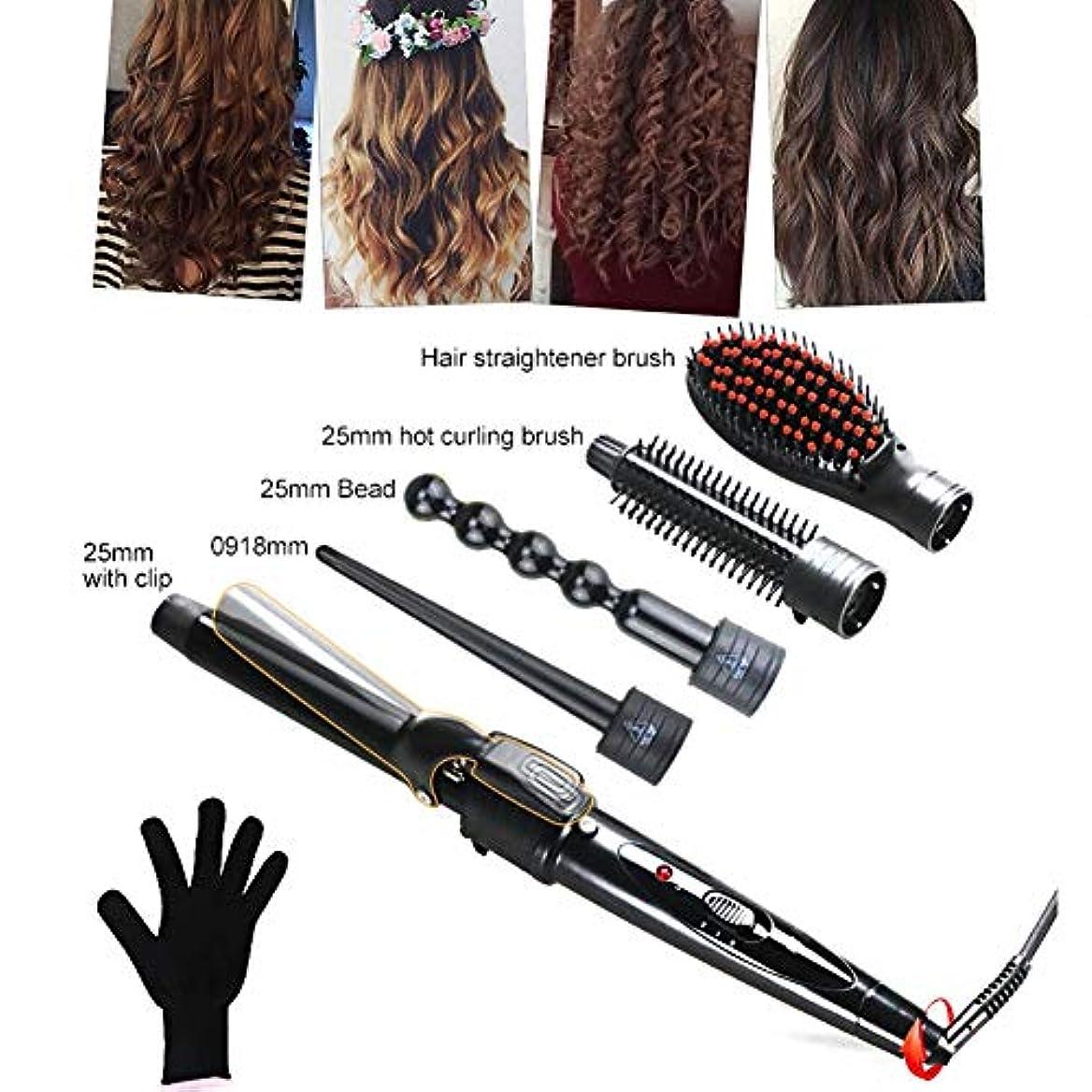 目指す討論抽象ヘアカーラー - 5で1カーリングアイロンセット、5髪交換カーラーセラミックバレ 耐熱手袋が付 ストレートヘアコーム ル用すべての髪