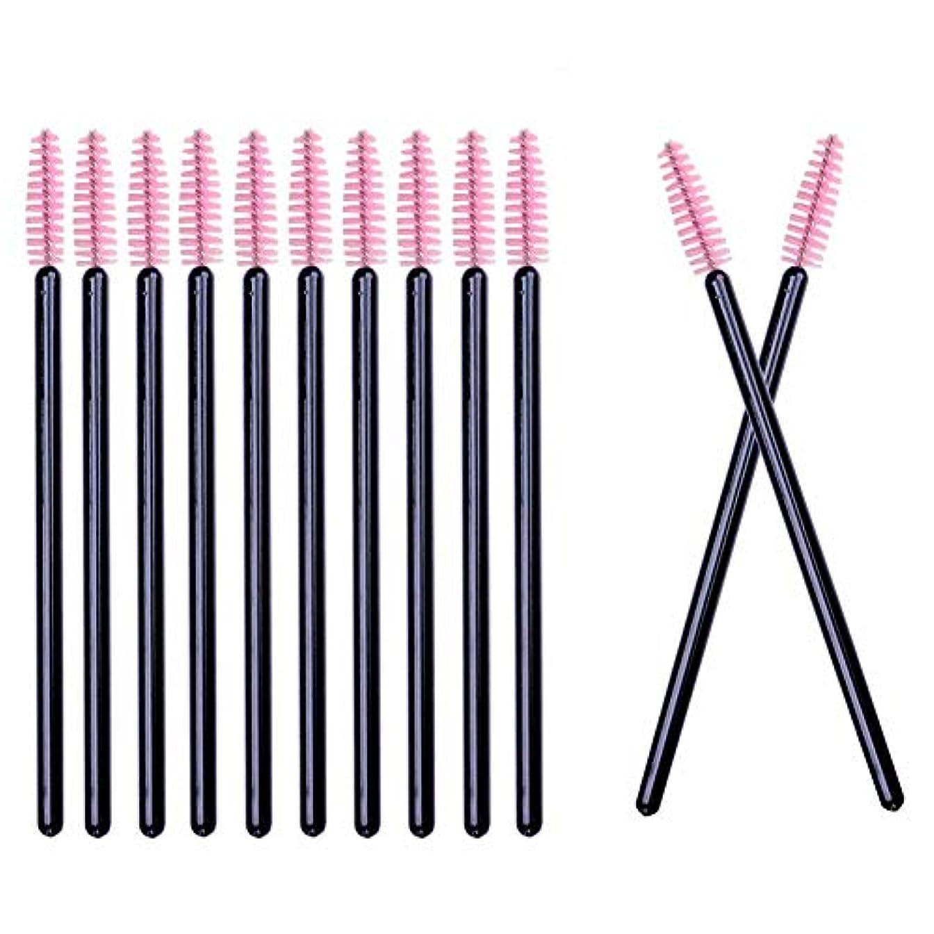 病気だと思う議題暖炉Deksias 100本黒色の竿まつげブラシ 使い捨て スクリューブラシ マスカラブラシ まつげコーム メイクブラシ アイメイク 化粧用品 … (ピンク)