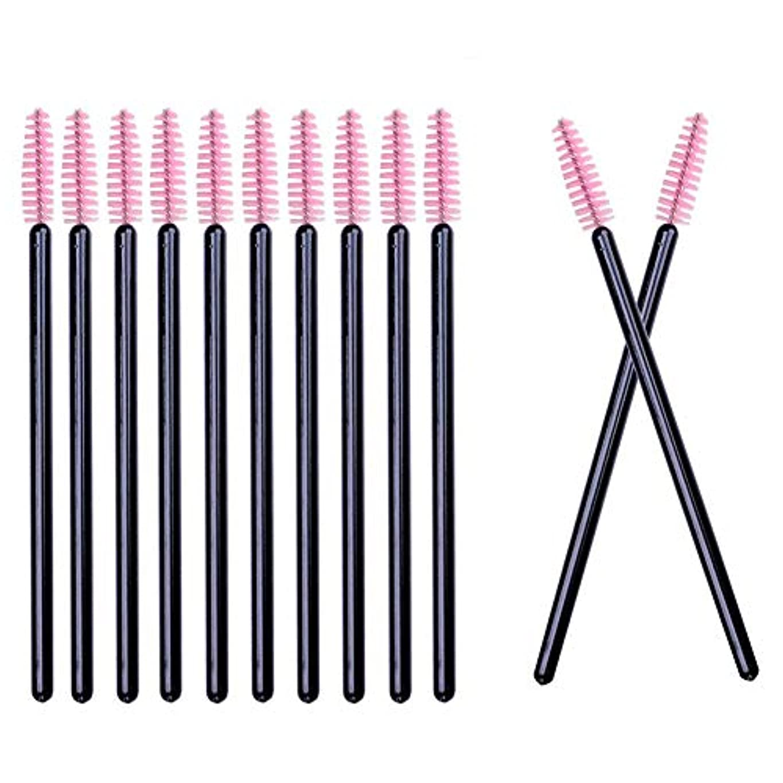 誰か放射能刑務所Deksias 100本黒色の竿まつげブラシ 使い捨て スクリューブラシ マスカラブラシ まつげコーム メイクブラシ アイメイク 化粧用品 … (ピンク)