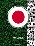 Notebook. Japan Flag And Soccer Balls Cover. For Soccer Fans. Blank Lined Planner Journal Diary.