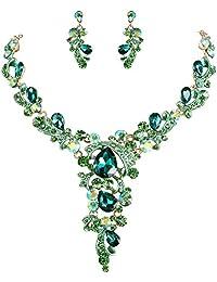 Clearine Women's Wedding Bridal Crystal Leaf Vine Teardrop Hollow Statement Necklace Dangle Earrings Set
