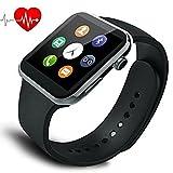 スマートウォッチ 日本語対応 多機能腕時計 スポーツ時計の心拍数 Bluetooth4.0 高精細HD iPhone &Androidスマートフォン対応 (PU + 銃)