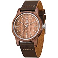Wood Watch,MUJUZE Handmade Cow Leather Band Wood Watch Casual Business Sport Style Leather Band Wood Watch