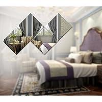 【16枚セット】壁貼りシール 鏡シール インテリア鏡貼 浴室 化粧 壁 装飾ミラー 安全 割れない 折れない 鏡効果 おしゃれ 薄型 空間節約 四角形 15 x15cm 1mm (1mm, 16)