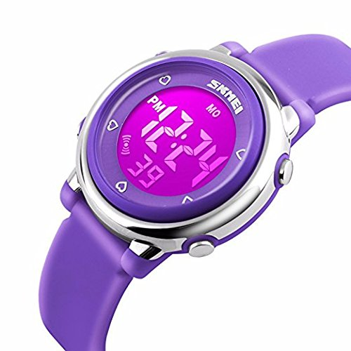 デジタル腕時計 子供 スポーツ腕時計 女の子  防水腕時計 キッズ ストップウオッチ ガールズ 目覚まし時計 七色LEDバックライト 発光デジタル時計 ZAYIYA
