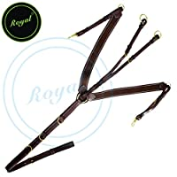 Royal Padded Heart Shape Elastic Breast Plate with D-Rings./ Brown Elastic with Grey & Maroon lines./ Vegetable Tanned Leather./ Brass Buckles.