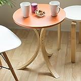 爽やかなカフェテーブル 「ポルタ」【オレンジ色(橙色)】 コーヒーサイドテーブル シンプルデザイン 北欧木製スタイル ポップカラータイプ